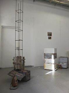 """1. Totem / Iron , wood, concrete 2. untitled / Beehives, laptop, video, photographs Installation """"Material Matters _Space I"""", Athens School of Fine Arts, September 2015. Artist: Georgia Nikolakopoulou Athens, Concrete, Georgia, Photographs, September, Laptop, Iron, Fine Art, Space"""