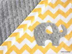 Yellow Chevron & Gray Minky Baby Blanket with Sweet Elephant Applique  by CAVUcreations, $44