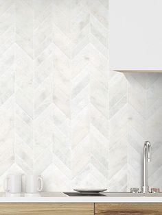 Kitchen remodel White modern marble chevron mosaic backsplash tile white cabinet The World Home Design, Küchen Design, Layout Design, Design Ideas, Interior Design, Design Styles, Design Trends, Backsplash Kitchen White Cabinets, Mosaic Backsplash