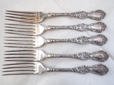 Antique Wallace 1835 Floral Fork ca 1902 Lot of 5 Silverplate No Monogram…