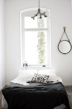 black & white bed