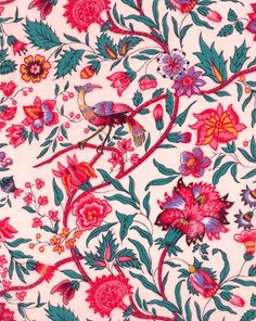 Beautifully feminine bird and floral print. Can see influences of Morris in the style of the florals and the busy composition. Vibrant colours against a pale pink background - really makes the pattern stand out. Motifs Textiles, Textile Prints, Textile Patterns, Flower Patterns, Color Patterns, Print Patterns, Surface Pattern Design, Pattern Art, Motif Floral