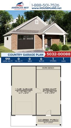 Get to know this Country garage, Plan 5032-00088 details 991 sq. ft. and a workshop. #country #garage #garageplans #architecture #houseplans #housedesign #homedesign #homedesigns #architecturalplans #newconstruction #floorplans #dreamhome #dreamhouseplans #abhouseplans #besthouseplans #newhome #newhouse #homesweethome #buildingahome #buildahome #residentialplans #residentialhome