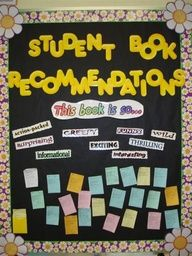 What a great interactive reading bulletin board! Students recommend books to one another. This would be great in a classroom, library, OR hallway! Literacy Bulletin Boards, Interactive Bulletin Boards, Reading Bulletin Boards, Bulletin Board Display, Bullentin Boards, Classroom Displays, Classroom Decor, Library Displays, Book Displays
