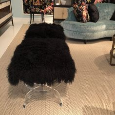 Fall 2017 HIGH POINT MARKET EMBELLISHMENT Design TRENDS - The Clearly U Bench w black Tibetan lamb hide from Ambella Home