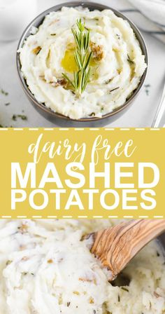 This recipes is the best dairy free mashed potatoes you will try! They're made with russet potatoes, almond milk, garlic and herbs. It's healthy, creamy and so easy to make. Make ahead for an even easier Thanksgiving side dish Mashed Potatoes Without Milk, Dairy Free Mashed Potatoes, Healthy Mashed Potatoes, Mashed Potato Recipes, Whole 30 Potatoes, Macaroni Recipes, Potato Dishes, Healthy Thanksgiving Recipes, Thanksgiving Side Dishes