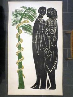 Adam und Eva nach HAP Grieshaber, Atelierdruck 90 x 155 cm