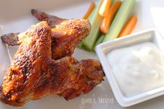 Skinny Buffalo Wings - Baked, not fried, these wings will be the hit at your next football gathering!