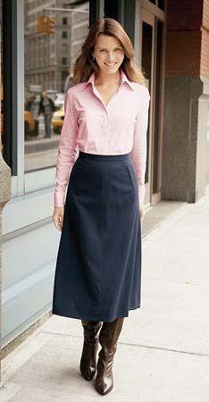 Modest skirt with peach top.  Men: still keep one eye on traffic.  Talbots c. 1997
