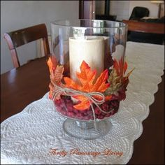 DIY fall decoration, hurricane vase, pillar candle, twine and leaves faux berries or acorns as filler Fall Home Decor, Autumn Home, Holiday Decor, Diy Autumn, Home Decoracion, Autumn Decorating, Decorating Ideas, Door Decorating, Candle Centerpieces