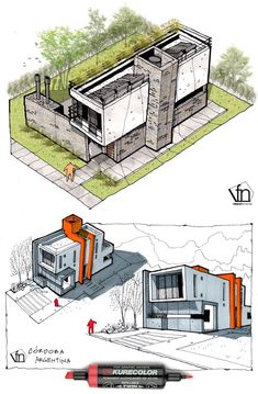 "homedesigning: "" (via Architectural flow: Surrealist home illustrations by Ney. - homedesigning: "" (via Architectural flow: Surrealist home illustrations by Neyra) "" Conceptual Model Architecture, Architecture Design Concept, Architecture Portfolio Layout, Architecture Concept Drawings, Architecture Sketchbook, Pavilion Architecture, Architecture Details, Modern Architecture, Sustainable Architecture"