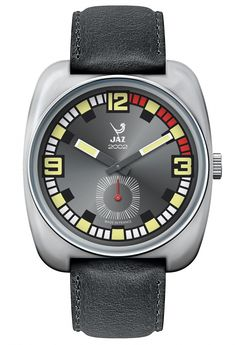 Montre vintage 2002 PHENIX - bracelet en cuir noir, boitier en métal couleur acier et cadran noir - JZ 110-1 - pour homme - Boutique Officielle JAZ - un savoir-faire horloger made in France depuis 1919.