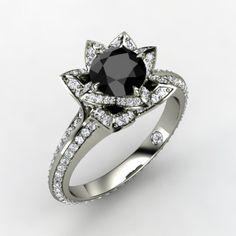 Pave Lotus Ring http://www.gemvara.com/Round-Black-Diamond-White-Gold-Ring-by-Jeet-Palavwala/jewelry/v/228427/