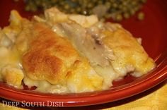 Deep South Dish: Chicken and Dumpling Bake Casserole - one of the most popular recipes on the site, this casserole gives a felling of good ole chicken & dumplings, but in an easy casserole form. Chicken Dumpling Casserole, Chicken And Dumplings, Casserole Dishes, Casserole Recipes, Cooked Chicken, Chicken Soup, Raw Chicken, Chicken Alfredo, Orange Chicken