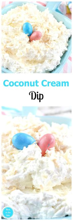Coconut Cream Dip is super easy to make and deliciously luscious! Toasted coconut with a hint of caramel sauce is just what your Easter party needs. via /momontheside/ Sweet Desserts, Easy Desserts, Delicious Desserts, Delicious Cupcakes, Cold Desserts, Coconut Recipes, Dip Recipes, Coconut Desserts, Sauces