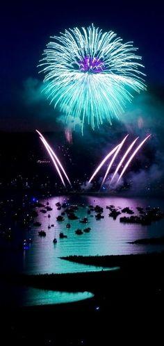 Turquoise fireworks  Fuego de artificiales de turquesa.