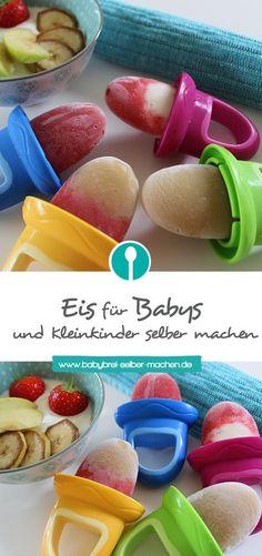 Zuckerfreies Eis für Babys und Kleinkinder ganz einfach selber machen – da darf auch gerne mal ein gesundes Eis mehr genascht werden. Hilft übrigens auch beim Zahnen!