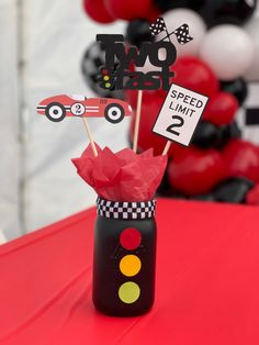 Car Themed Birthday Party, 2nd Birthday Party For Boys, Race Car Birthday, Cars Birthday Parties, Birthday Ideas, Birthday Party Centerpieces, First Birthdays, Party Ideas, Toddler Girls