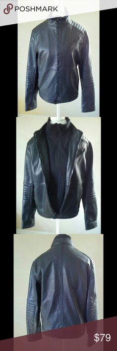 Express Moto Black (minus the) Leather Jacket S M This is technically from the men's line of Express but a woman can wear it as well... Either way this is one sexy jacket... Sized a men's small. Please read measurements. It retails for $228 It has a removable front panel and stand up collar for warmth and wind resistance. The faux (minus the) leather is subtly perforated with elbow and shoulder patch details.  Chest 42 Length 25 Sleeves 25 Express Jackets & Coats Performance Jackets