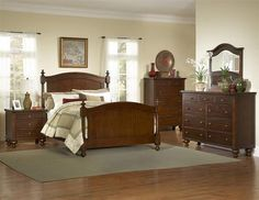 Aria Classic Warm Brown Cherry Wood Kids Bedroom Sets