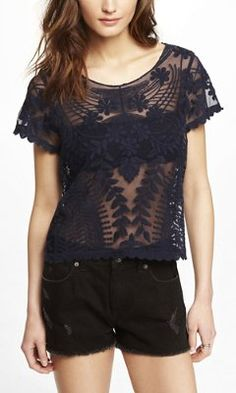 SHORT SLEEVE BAROQUE LACE TEE from EXPRESS