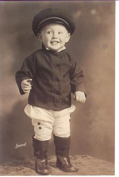 At last, a happy child in a vintage photo.