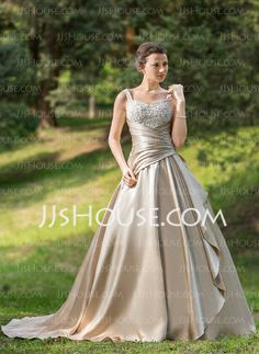 Ball-Gown Sweetheart Court Train Satin Wedding Dress With Ruffle Lace Beadwork (002024696)