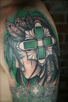 Absente Muse green black tattoo by Nathan Kostechko