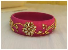 ✅Customisation available in all sizes and different colors . Silk Thread Bangles Design, Silk Thread Necklace, Beaded Necklace Patterns, Thread Jewellery, Fabric Jewelry, Jewelry Patterns, Beaded Jewelry, Beaded Bracelets, Kundan Bangles