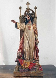 Etsy のChrist the King Sacred Heart of Jesus Statue Chair Devotional Figurine Santos Spain Religious Vintage Antique /577(ショップ名:GliciniaANTIQUE)