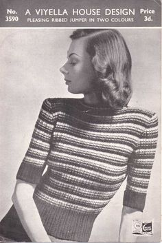 The   Vintage   Pattern   Files: 1940's knitting - A Pleasing Ribbed Jumper