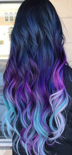 Fantastic Ombre Hair Color Ideas You Should Try This Summer; Ombre Hair Color In Summer; Cute Hair Colors, Pretty Hair Color, Beautiful Hair Color, Hair Color Purple, Hair Dye Colors, Purple Ombre, Ombre Hair Rainbow, Galaxy Hair Color, Purple Nails
