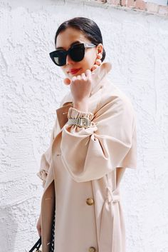 HallieDaily, Style, Street Style, Outfit, OOTD, Spring Style, Nanette Lepore Cheeky Check Dress, Tibi Trench, 2017, Michele Watch, Le Specs Cat Eye Sunglasses, Muun Bag, Rebecca de Ravenel Earrings, River Island Mules, Pink Mules. Ladylike, Classic.