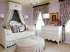 nice looking purple floral curtain nursery for girl beside nightstand plus lamp on the top also white canopy sofa bed plus purple paint wall