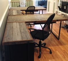 Reclaimed White Cedar Desks with Industrial by WoodshedWoodworks