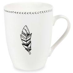 Mug motif plume en porcelaine NAGAWIKA   - Vendu par 2