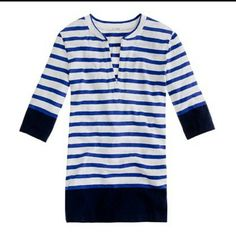 J Crew striped Henley tee Good condition. Price is firm unless you bundle : ) J. Crew Tops Tees - Short Sleeve