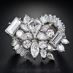 Mid-Century Platinum and Diamond Cocktail Ring Bling Bling, Diamond Rings, Diamond Jewelry, Solitaire Ring, Antique Jewelry, Vintage Jewelry, Family Jewels, Diamond Are A Girls Best Friend, Chandelier Earrings