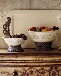 """GG Collection Ceramic Serving Bowls & Tray from Horchow.com.  Tray is 24x14"""", large bowl is 11½"""", small bowl is 9½x5"""" tall.  They can be ordered separately."""