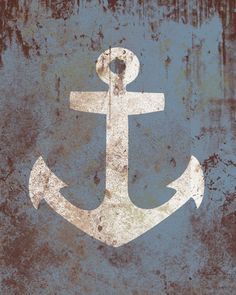 Vintage Nautical Anchor - Distressed Print - Children Nursery Playroom Artwork. $12.00, via Etsy.