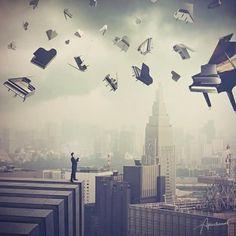 """A volte vorrei vivere nell'aria E rimanere sospeso senza più ostacoli... La musica fa sognare e volare capire La musica da la forza di reagire La musica fa viaggiare senza partire La musica fa capire ciò che vuoi capire  (Litfiba""""La Musica Fa"""") Illustrazione di Evgenij Soloviev."""