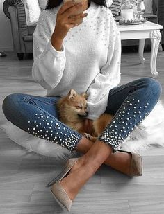 #fall #outfits white sweater jeans with pearls heels