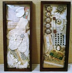 Vintage Items in Shadowboxes - Baby (left) & Sewing (right). Shadow Box Memory, Shadow Box Art, Vintage Crafts, Vintage Items, Vintage Decor, Craft Projects, Projects To Try, Memory Crafts, Button Cards