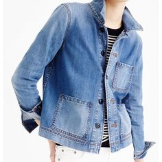 J.Crew Denim Workwear Jacket ($93) ❤ liked on Polyvore featuring outerwear, jackets, denim jacket, blue jackets, blue denim jacket, drapey jacket and drape jacket