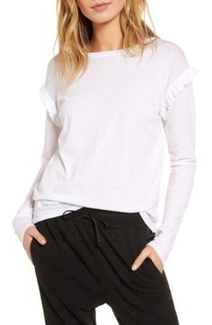 Free shipping and returns on Treasure & Bond Ruffle Sleeve Tee at Nordstrom.com. Pretty ruffles update the look of this simply styled tee for a chic and modern spin on a casual staple.When you buy Treasure & Bond, Nordstrom will donate 2.5% of net sales to organizations that work to empower youth.