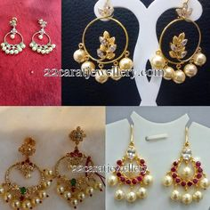 Jewellery Designs: Light Weight Chandbalis L Light weight Ruby Necklace Designs, Jewelry Design Earrings, Designer Earrings, Pendant Jewelry, Jewellery Designs, Bali Jewelry, Indian Jewelry, Bridal Jewelry, Gold Earrings For Kids