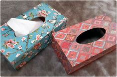 Decoupaged wooden tissue boxes. By JHollisArt