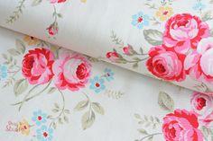 Stoff Rosen - Flower Sugar Maison, Canvas Dekostoff Rosarot Weiß - ein Designerstück von Rosenstoffe-Shop bei DaWanda