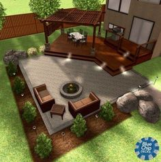 Similar concept with deck off side slider from dining room & pergola along side . Similar concept with deck off side slider from dining room & pergola along side patio into fire pit area In modern citie.