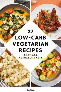 27 Low-Carb Vegetarian Recipes That Are Actually Tasty - PureWow Low Calorie Vegetarian Recipes, Vegetarian Breakfast Recipes, Vegetarian Appetizers, Vegetarian Recipes Dinner, Veggie Recipes, Lunch Recipes, Healthy Recipes, Vegetarian Cooking, Keto Dinner